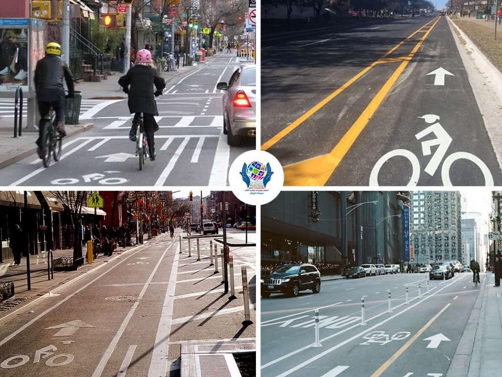 لاینهای بسیار ساده دوچرخه در کنار معابر خیابان با تفکیک سازی خطوط رنگی